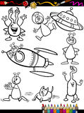 Aliens Cartoon Set for coloring book Royalty Free Stock Image