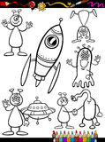 Aliens Cartoon Set for coloring book Stock Photography