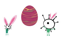 Aliens celebrating Easter, vector Stock Image