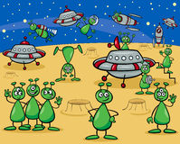 Aliens characters cartoon. Cartoon Illustrations of Fantasy Aliens or Martians Characters Group with Ufo Stock Image