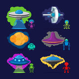 Aliens characters set. Aliens vector characters. Space invaders monsters with UFO illustration set Royalty Free Stock Photos