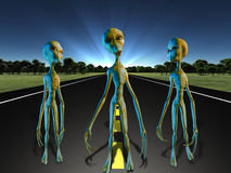 Aliens on country road. Three Aliens on country road Royalty Free Stock Photography