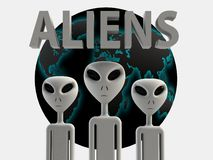 Aliens 3D effect rendering on white background Stock Images