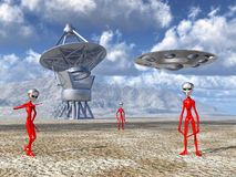 Aliens on Earth discover a giant telescope Stock Photo