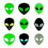 Aliens faces set Stock Photography