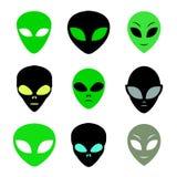 Aliens faces set Stock Photography