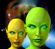 Aliens faces Royalty Free Stock Image