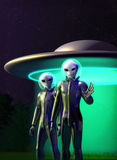 Aliens and flying disk. A couple of aliens with flying disk in background in 3d vector illustration