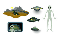 Aliens and flying saucers set. Royalty Free Stock Photo