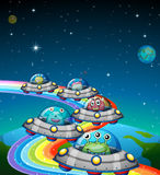 Aliens flying in the UFO. Illustration Royalty Free Stock Image