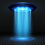 Aliens futuristic spaceship, ufo with blue lights. Invasion vector concept. Ufo invasion, spaceship and blue ray illustration Stock Photos