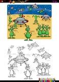 Aliens group coloring book Stock Photos