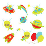 Aliens icons Stock Photos