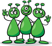 Aliens or martians cartoon illustration Royalty Free Stock Images