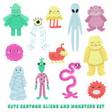 Aliens and monsters cartoon style vector set Stock Photos