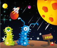 Aliens in the moon. In the outer space Stock Illustration
