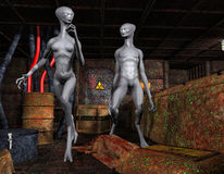 Aliens in an old base Royalty Free Stock Photo