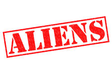 ALIENS. Red Rubber Stamp over a white background vector illustration