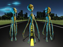 Aliens on road Royalty Free Stock Photo