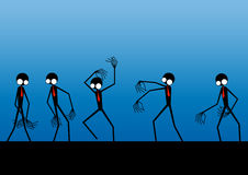 Aliens in a row. Illustration of moving aliens against a blue background Royalty Free Stock Photos