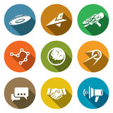 Aliens, search, Contact Icons Set. Vector. Flat Icons collection on a color background for design Royalty Free Stock Images