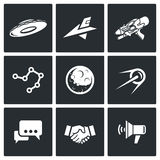 Aliens, search, Contact icons. Vector Illustration. Aliens Vector Isolated Flat Icons collection on a black background for design Royalty Free Stock Photos