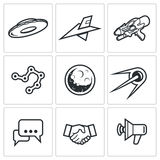 Aliens, search, Contact icons. Vector Illustration. Aliens Vector Isolated Flat Icons collection on a white background for design Stock Photography