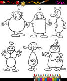 Aliens set cartoon coloring book Royalty Free Stock Photography