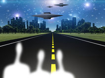 Aliens and ships outside city. Aliens and ships outside of city Royalty Free Stock Image