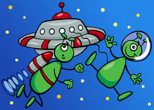 Aliens in space cartoon illustration Stock Photography