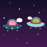 Aliens in space. Vector illustration Stock Image