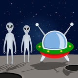 Aliens and Spacecraft on the Moon Royalty Free Stock Photos