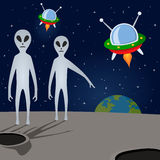 Aliens & Spacecrafts Threatening Earth Royalty Free Stock Images
