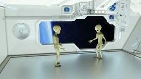 Aliens on a spaceship arguing on background planet Earth. royalty free illustration