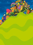 The aliens subject - ufo. The happy and colorful illustration for the children Royalty Free Stock Images