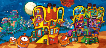 The aliens subject - ufo. The happy and colorful illustration for the children Royalty Free Stock Image