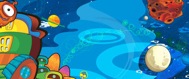 The aliens subject - ufo - star - kindergarten - menu - screen - space for text - happy and funny mood - illustration for the chil. Beautiful and colorful alien Stock Photo