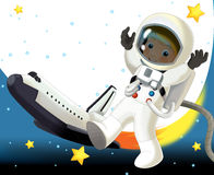 The aliens subject - ufo - star - kindergarten - menu - screen - space for text - happy and funny mood - illustration for the. The happy and colorful stock illustration