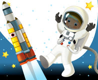 The aliens subject - ufo - star - kindergarten - menu - screen - space for text - happy and funny mood - illustration for the chil Stock Photo