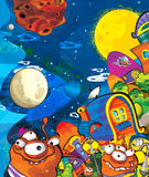 The aliens subject - ufo - star - kindergarten - menu - screen - space for text - happy and funny mood - illustration for the chil Royalty Free Stock Images