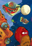 The aliens subject - ufo - star - kindergarten - menu - screen - space for text - happy and funny mood - illustration for the chil. The happy and colorful Stock Images