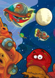The aliens subject - ufo - star - kindergarten - menu - screen - space for text - happy and funny mood - illustration for the chil. The happy and colorful Stock Photos