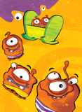 The aliens subject - ufo - star - kindergarten - menu - screen - space for text - happy and funny mood - illustration for the chil Stock Image