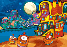 The aliens subject - ufo - star - kindergarten - menu - screen - space for text - happy and funny mood - illustration for the chil Stock Photography