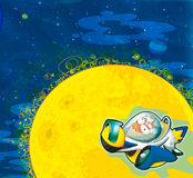 The aliens subject - ufo - star - kindergarten - menu - screen - space for text - happy and funny mood - illustration for the chil Royalty Free Stock Photo
