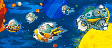 The aliens subject - ufo - star - kindergarten - menu - screen - space for text - happy and funny mood - illustration for the chil. The happy and colorful Stock Photography