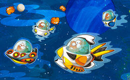 The aliens subject - ufo - star - kindergarten - menu - screen - space for text - happy and funny mood - illustration for the chil Royalty Free Stock Image