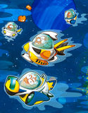 The aliens subject - ufo -starships. The happy and colorful illustration for the children Stock Photo