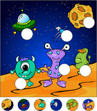 Aliens on the surface of Moon. complete the puzzle and find the Stock Photo