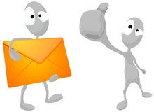 Aliens with thumbs-up and with envelope. Stock Photo